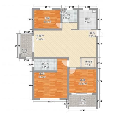 宏基・阳光尚城3室1厅2卫1厨131.00㎡户型图