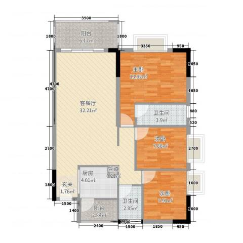 阳光水岸3室1厅2卫1厨81.83㎡户型图