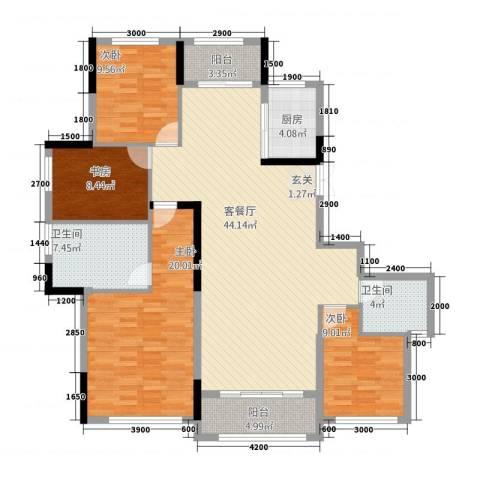 湘水郡4室1厅2卫1厨21159.00㎡户型图
