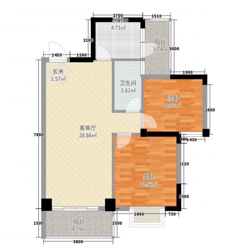 百舜中央城7887.82㎡7#8#D户型2室2厅1卫1厨