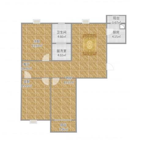 大马庄园3室2厅1卫1厨128.00㎡户型图