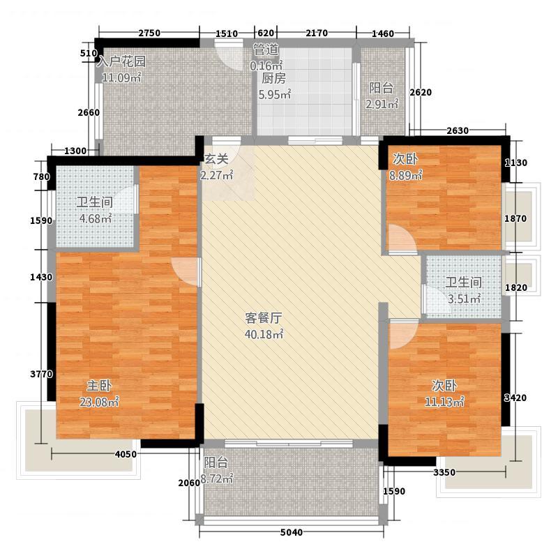 怡翠馨园142.85㎡嘉观苑6座03单位户型3室2厅2卫1厨