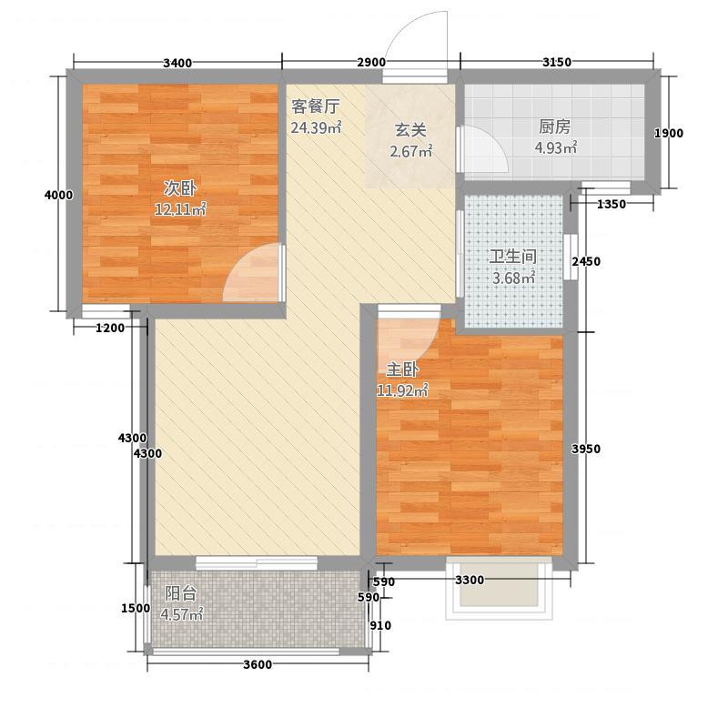 茗香国际1187.20㎡1#楼A1户型2室2厅1卫1厨