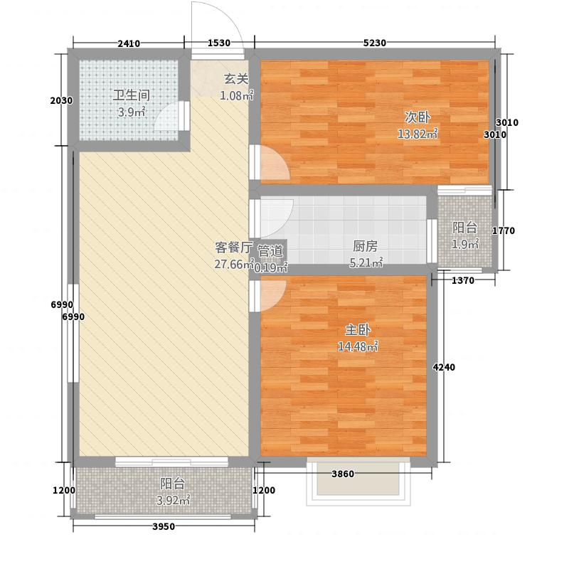 公园华府323.26㎡3-B户型2室2厅1卫