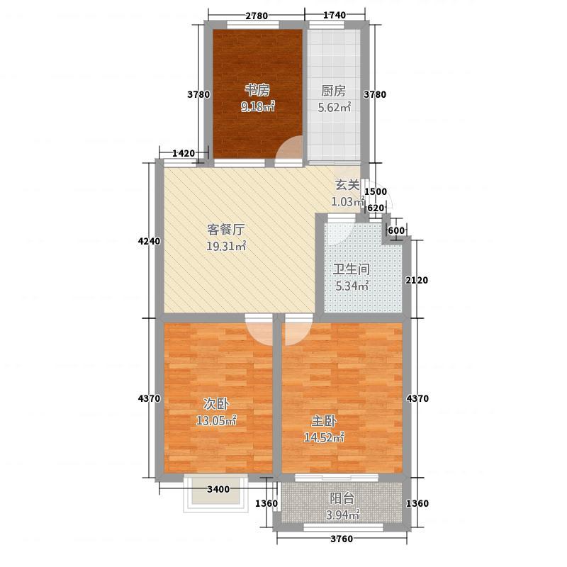 英伦公馆12412.20㎡多层B12#4单元013室户型3室3厅2卫1厨