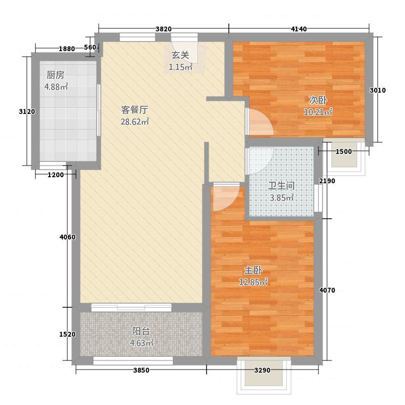 英伦公馆17223.38㎡C户型2室2厅2卫1厨
