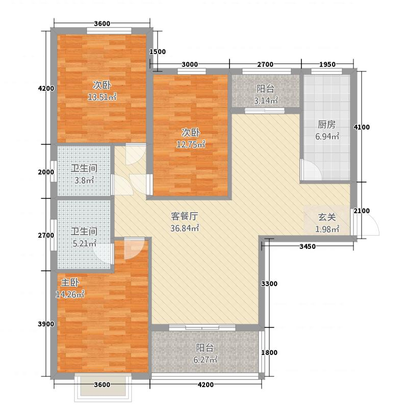 华德馨苑146.00㎡华德馨园1A户型3室2厅2卫1厨