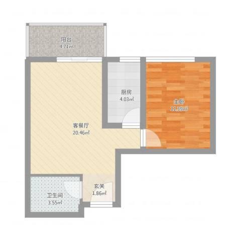 卡斯摩小院1室1厅1卫1厨51.00㎡户型图