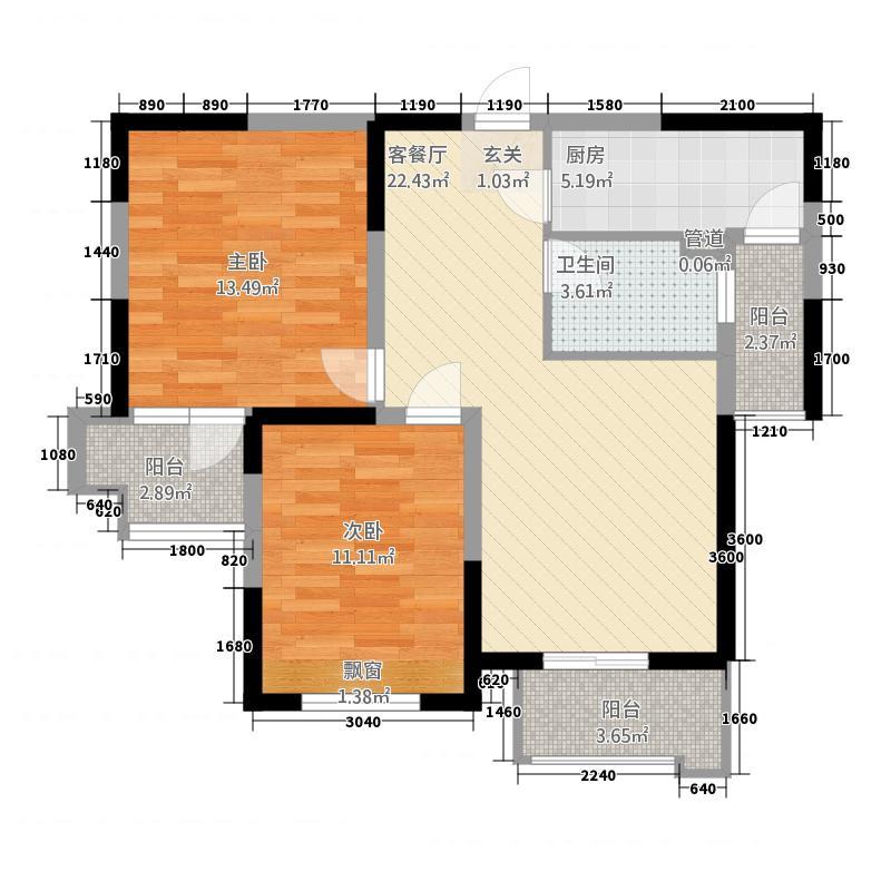 莱茵东郡24.20㎡户型2室2厅1卫1厨
