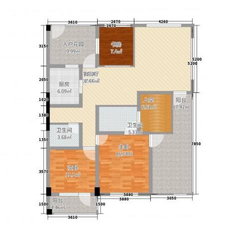 假日湾3室1厅2卫1厨126.00㎡户型图