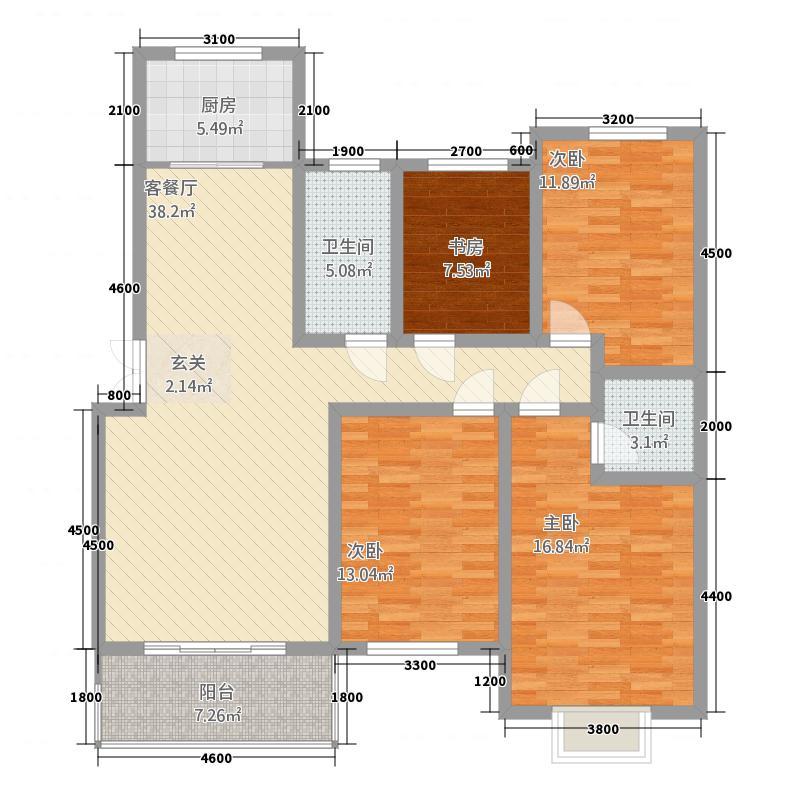 盛世名苑155.80㎡7B户型4室2厅2卫1厨