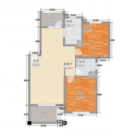 陆宇中央郡2室1厅1卫1厨95.78㎡户型图