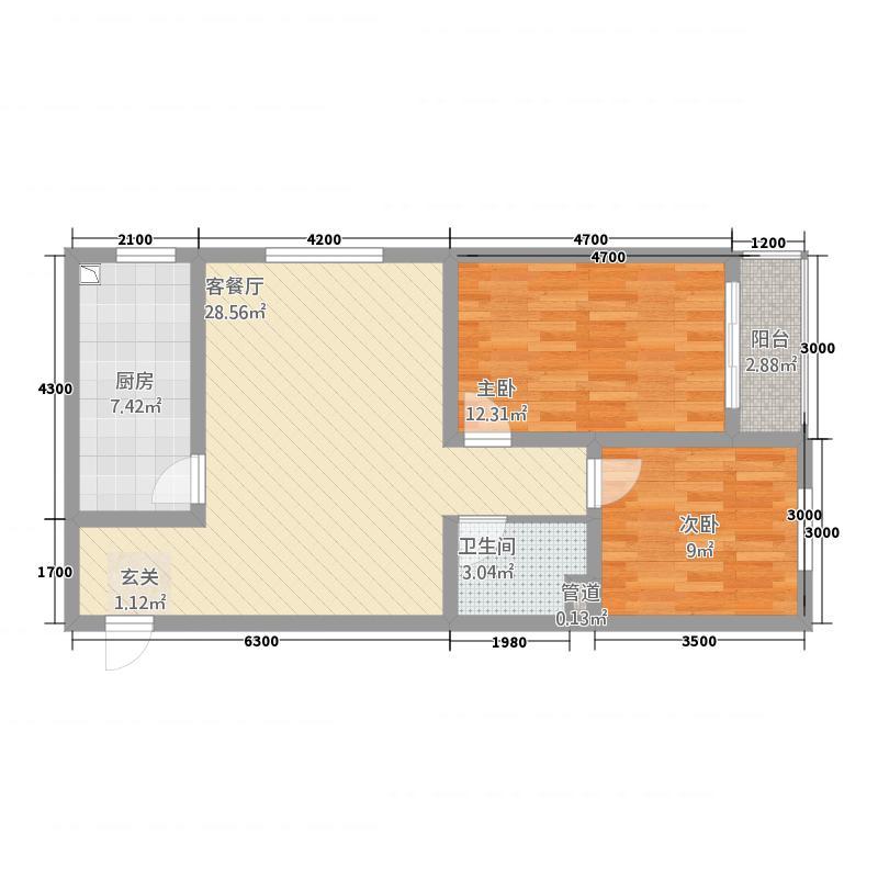 惠城嘉苑42188.54㎡4#2-1户型2室2厅1卫1厨