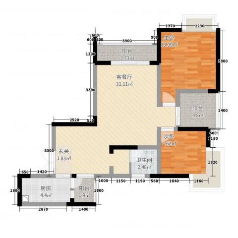 正升・时代港湾2室1厅1卫1厨69.14㎡户型图
