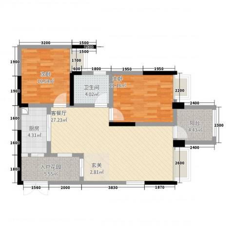正升・时代港湾2室1厅1卫1厨67.35㎡户型图