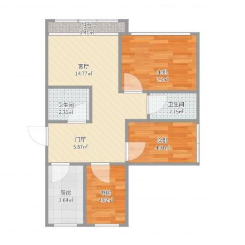 颐阳山水居3室1厅2卫1厨57.00㎡户型图