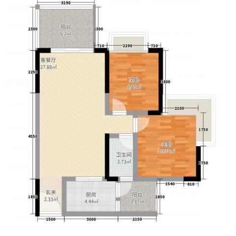 正升・时代港湾2室1厅1卫1厨63.58㎡户型图