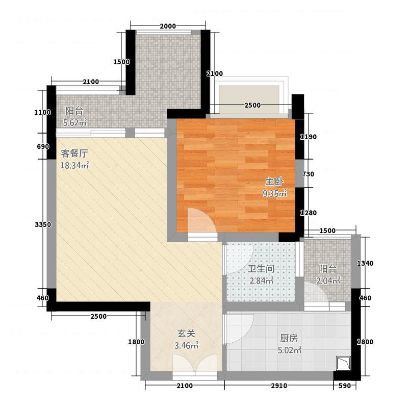 正升・时代港湾58.62㎡空中院馆+双阳台户型1室1厅1卫