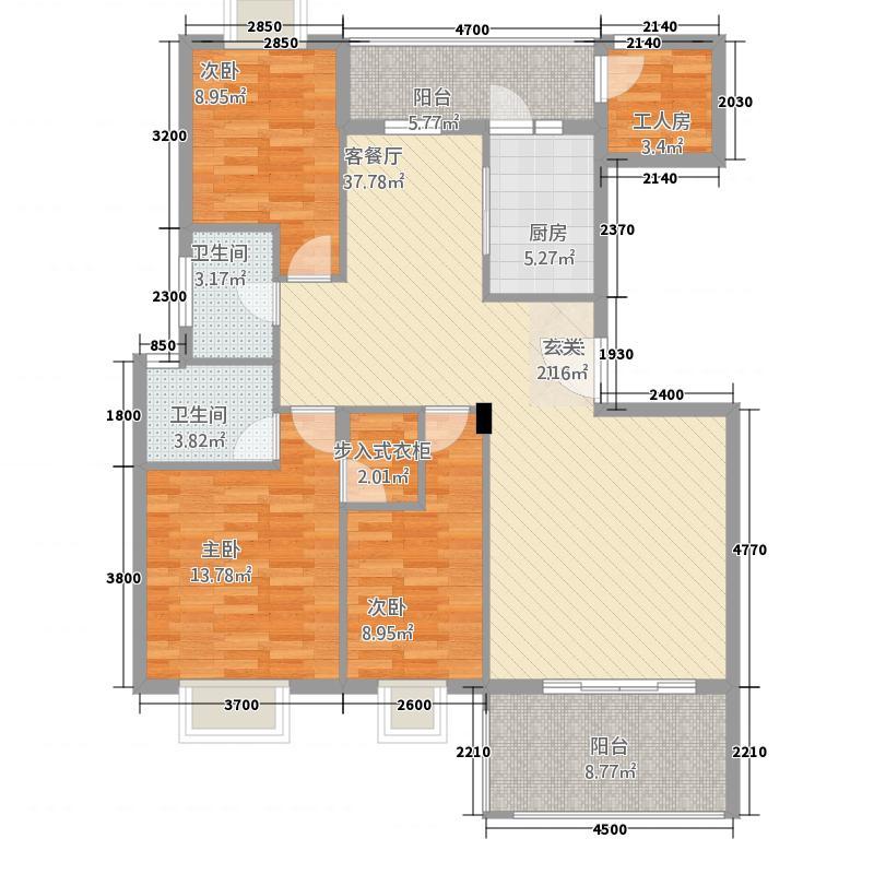 名人港湾313.61㎡3#A户型3室2厅2卫1厨