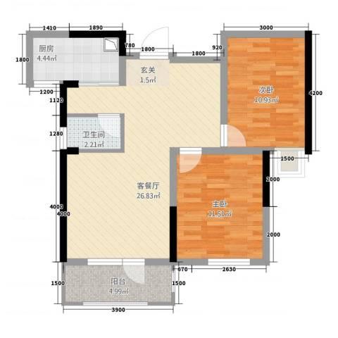 满庭春MOMΛ2室1厅1卫1厨2186.00㎡户型图