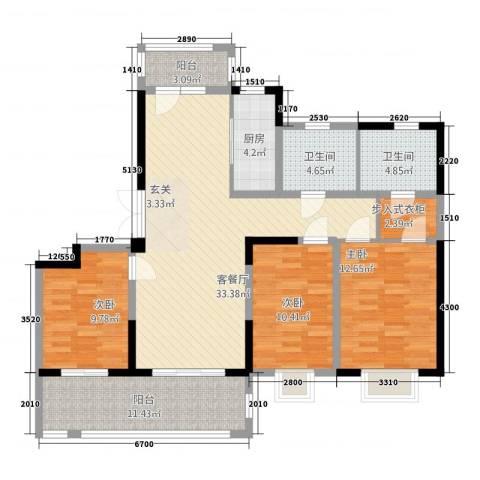 海门翠湖天地3室1厅2卫1厨96.99㎡户型图