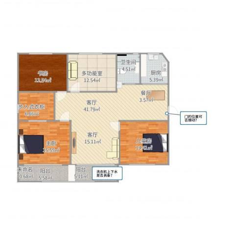 金樟花苑3室1厅1卫2厨130.89㎡户型图