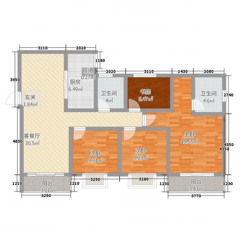 杨桥新镇东风商贸城D户型3室3厅3卫1厨
