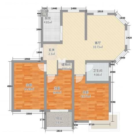 锦汇苑3室1厅1卫1厨122.00㎡户型图
