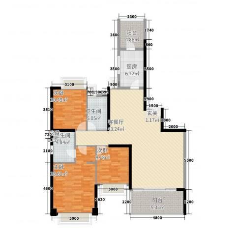 汇峰国际公寓3室1厅2卫1厨152.00㎡户型图