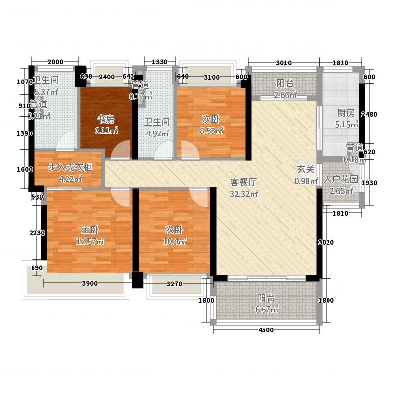 华发首府134.00㎡1栋、14栋0、0C户型4室2厅2卫1厨