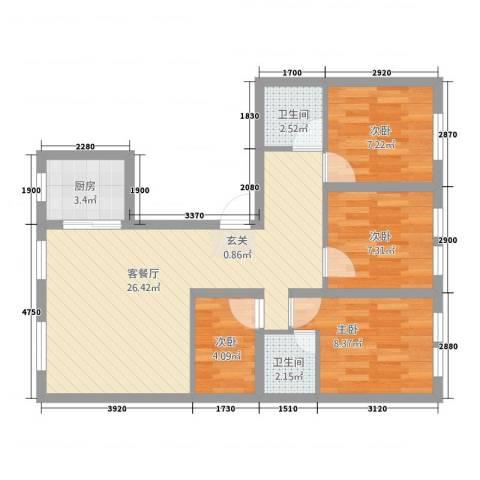 微山新村4室1厅2卫1厨89.00㎡户型图