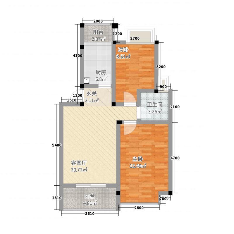南洋星城78.21㎡南洋户型2室2厅1卫1厨