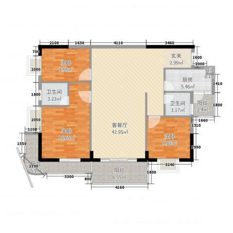 永发大厦3室1厅2卫1厨146.00㎡户型图