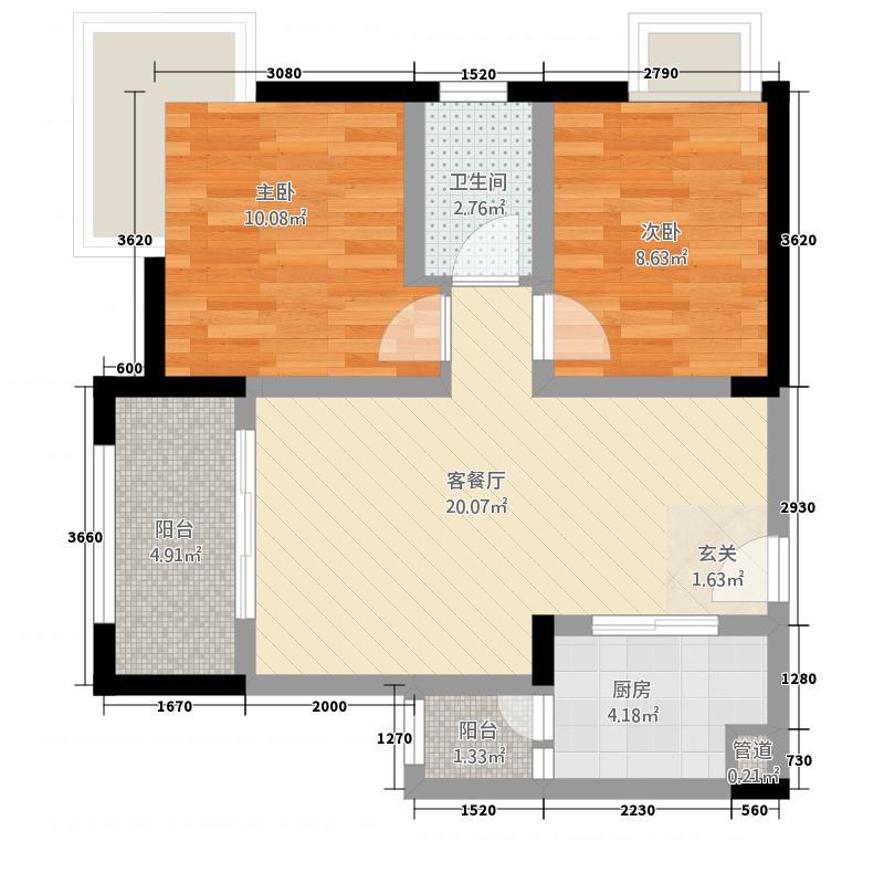军天学府苑276.85㎡户型2室2厅1卫1厨