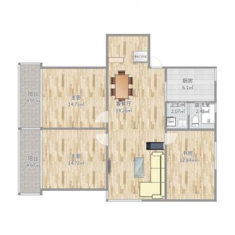 仙霞大郡3室2厅1卫1厨130.00㎡户型图