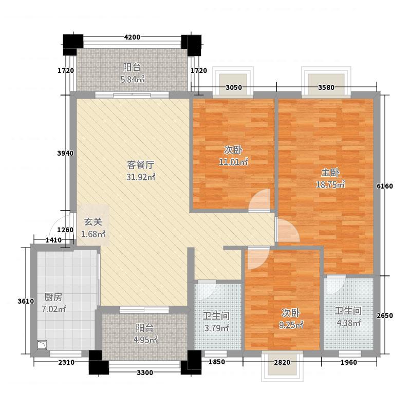 实德金源国际1115.20㎡B1户型3室2厅2卫1厨