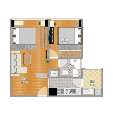 两江慧谷1室1厅1卫1厨56.00㎡户型图