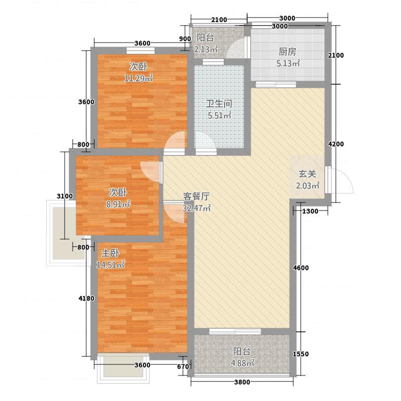 茗香国际23115.52㎡2#楼B3户型3室2厅1卫1厨