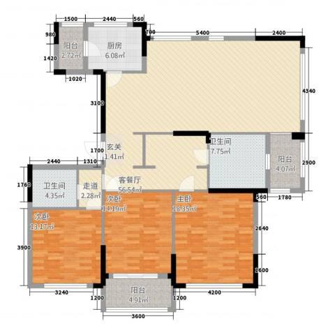 金地澜悦3室1厅2卫1厨1616.00㎡户型图