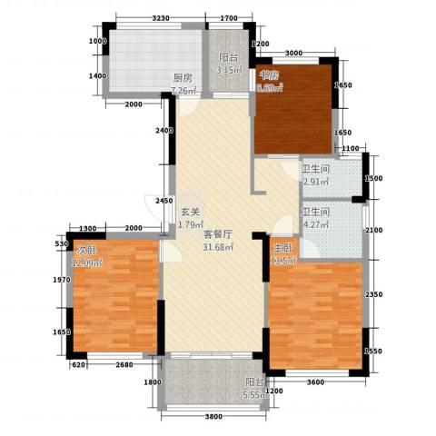 金地澜悦3室1厅2卫1厨11311.00㎡户型图