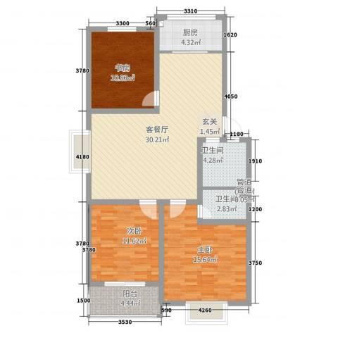四季春城3室1厅2卫1厨125.00㎡户型图