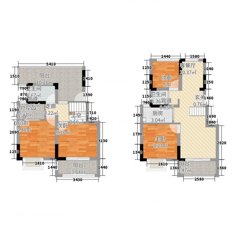 奥克斯钟山府1127.20㎡一期1-4幢标准层A1户型4室2厅2卫1厨