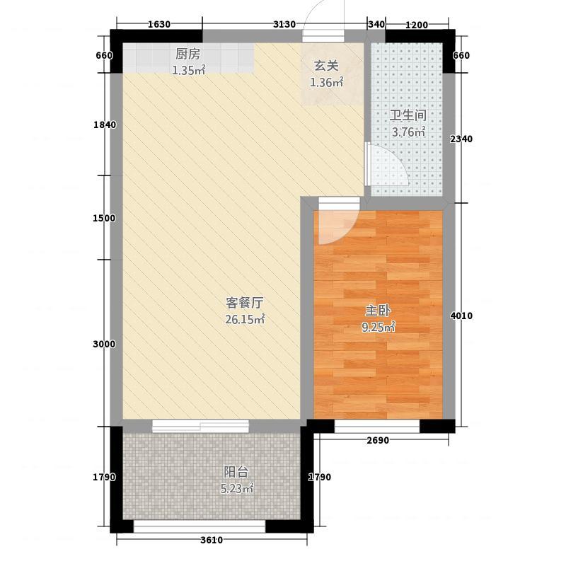 泰宇城市花园户型1室1厅1卫1厨