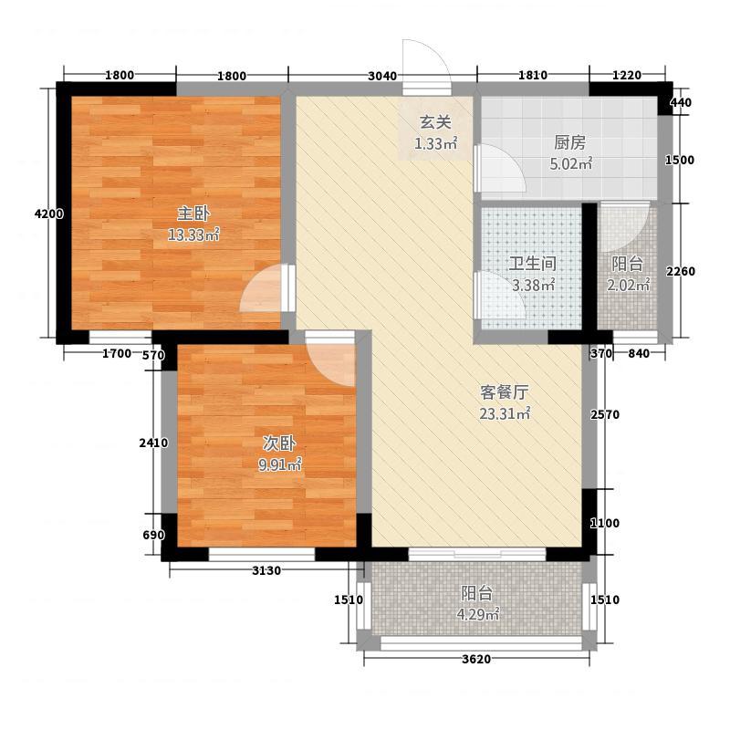 泰宇城市花园户型2室2厅1卫1厨