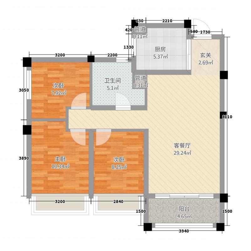 石家庄碧桂园114.20㎡洋房Y166/167-B户型3室2厅1卫1厨