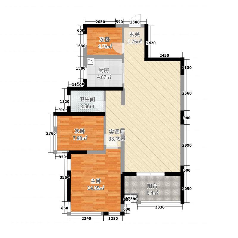 盛天小世界21128.20㎡21#楼1-2单元03、053室户型3室2厅2卫1厨