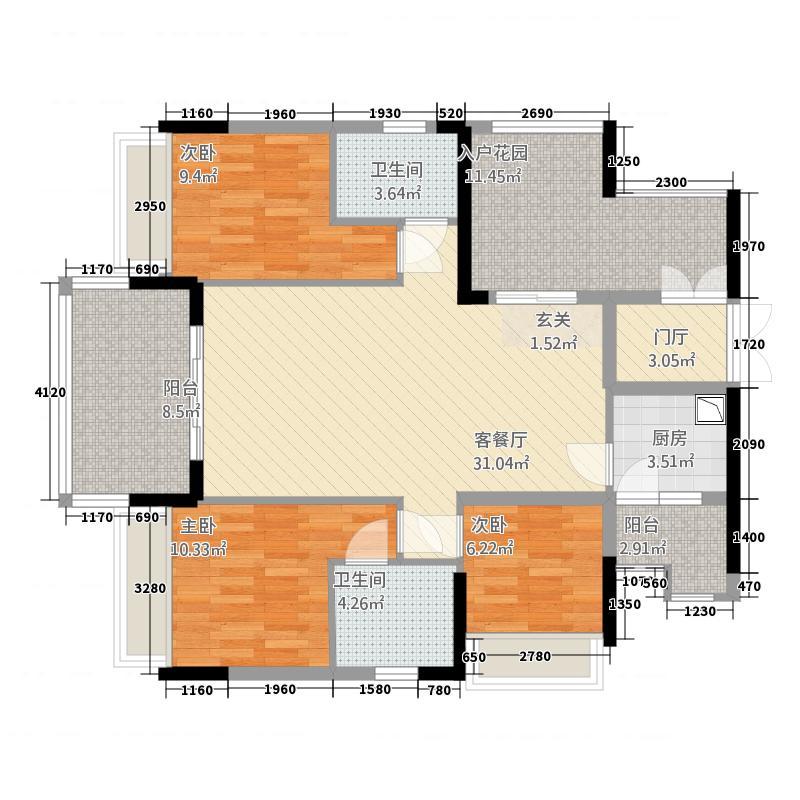 水岸花山32118.36㎡F户型3室2厅2卫1厨