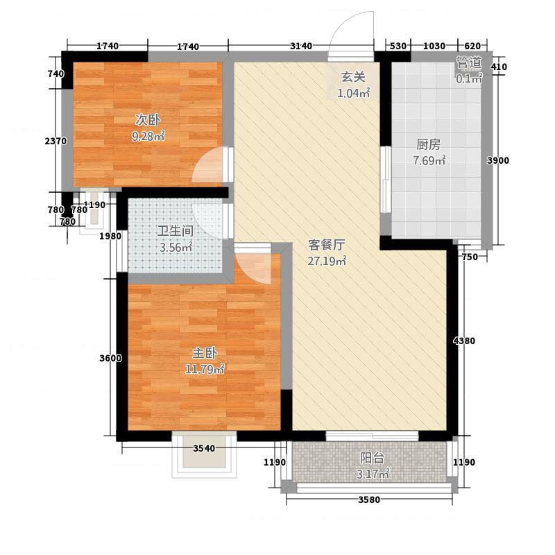 亿弘锦园221.21㎡D型户型2室2厅1卫1厨