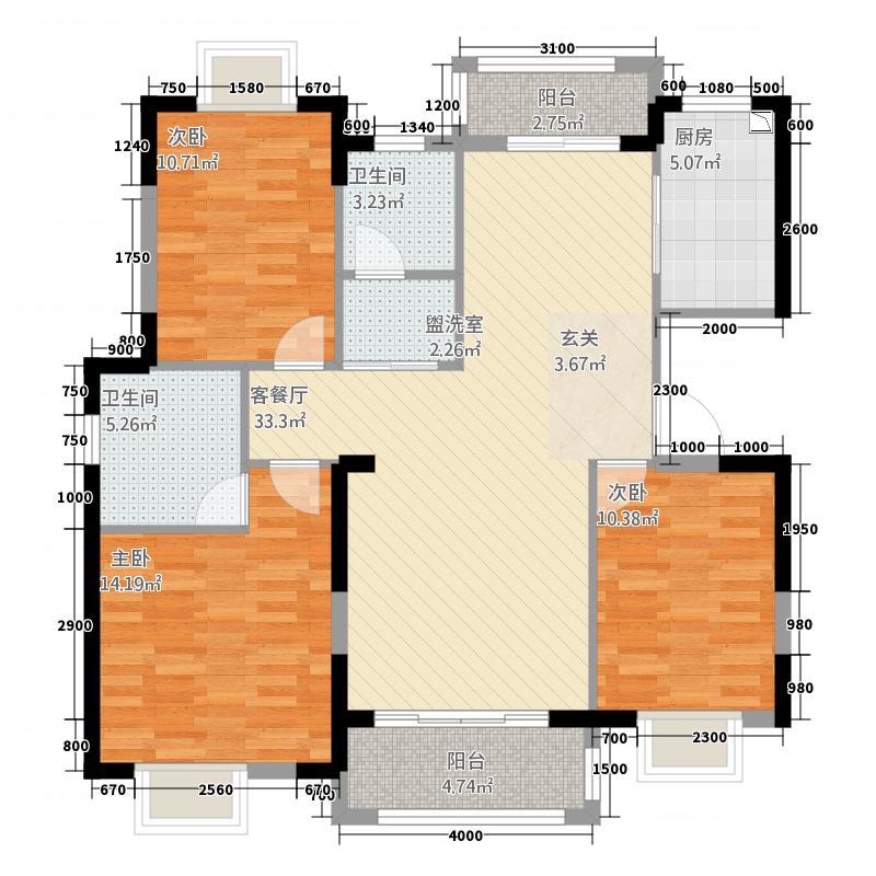 和谐人家・景苑11.72㎡两阳台户型3室2厅2卫1厨