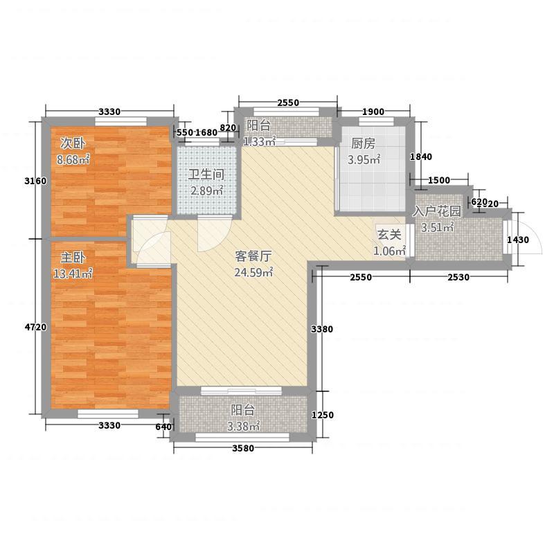 清华大溪地18.63㎡高层A1户型2室2厅1卫1厨